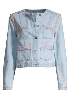 7 For All Mankind Collarless Fringed Denim Jacket