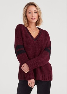 7 For All Mankind Collegiate Sweater in Dark Bordeaux and Black