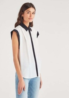 7 For All Mankind Contrast Cuff Drop Shoulder Top in Soft White