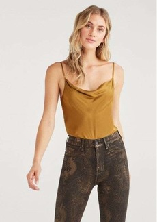 7 For All Mankind Cowl Neck Cami in Chartreuse