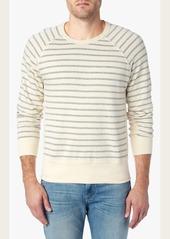 7 For All Mankind Crew Neck Stripe Sweatshirt in Ecru