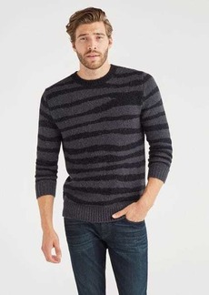7 For All Mankind Crewneck Sweater in Charcoal Zebra