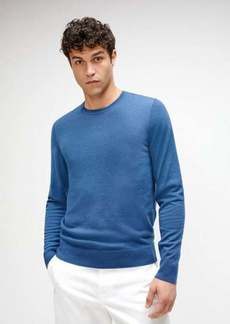 7 For All Mankind Crewneck Sweater with Contrast Linking in Midnight Blue