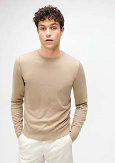 7 For All Mankind Crewneck Sweater with Contrast Linking in Tan