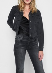 7 For All Mankind Crop Boyfriend Jacket with Baroque Applique in Bedford Black