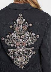 7 For All Mankind Crop Boyfriend Jacket with Baroque Applique in Bedford Black