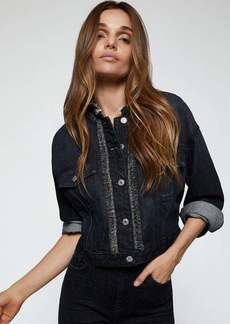7 For All Mankind Crop Trucker Jacket with Fringe Hem in Washed Out Black