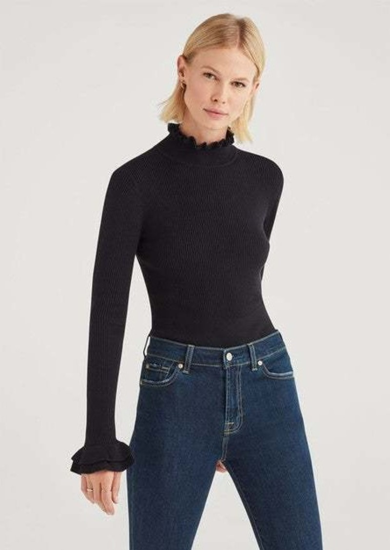 7 For All Mankind Crop Turtleneck with Ruffle Sleeves in Black