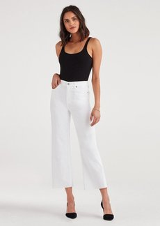 7 For All Mankind Cropped Alexa with Cut Off Hem in White Runway