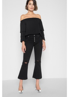 Cropped Ali with Exposed Button Fly, Knee holes, and Released Hem in Black