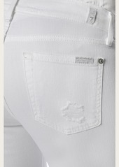 7 For All Mankind Cropped Boot With Destroy in Clean White
