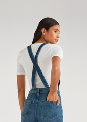 7 For All Mankind Cropped Georgia Overall in Empire Blue