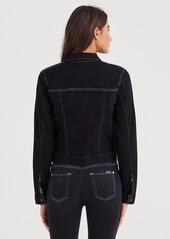 7 For All Mankind Cropped Jacket with White Stitching in Rinsed Night Walk