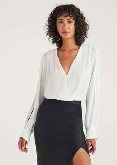 7 For All Mankind Cross Front V-Neck Top in Soft White