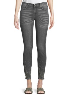 7 For All Mankind Crystal-Hem Cropped Skinny Jeans