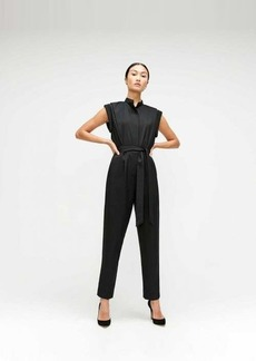 7 For All Mankind Cuffed Sleeve Jumpsuit in Jet Black