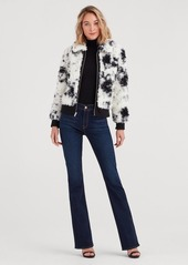 7 For All Mankind Curly Sherpa and Leather Jacket in Black and Cream