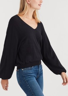 7 For All Mankind Curved Neck Crop Sweater in Black