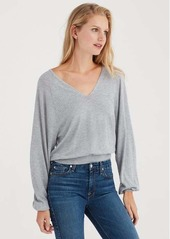 7 For All Mankind Curved Neck Crop Sweater in Heather Grey