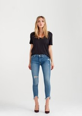 7 For All Mankind Curved Neck Tee in Black