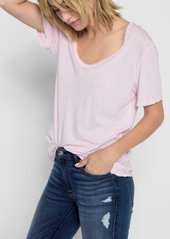 7 For All Mankind Curved Neck Tee in Pink Sunrise