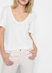 7 For All Mankind Curved Neck Tee in White