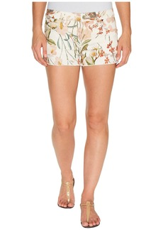 7 For All Mankind Cut Off Shorts w/ Side Splits & Light Destroy in Tropical Print 2