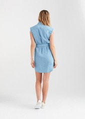 7 For All Mankind Cut Off Sleeve Shirt Dress in Soft Blue Skies