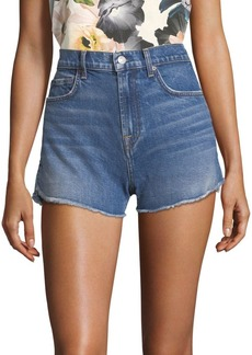 7 For All Mankind Cut-Off Step Hem Denim Shorts