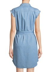 7 For All Mankind Cutoff-Sleeve Denim Shirtdress