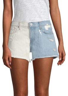 7 For All Mankind Ripped Two-Tone Cutoff Shorts