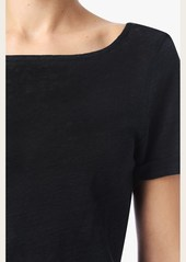 7 For All Mankind Deep Scoop Back Tee in Black