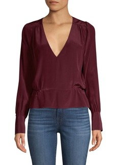 7 For All Mankind Deep V-Neck Long Sleeve Top