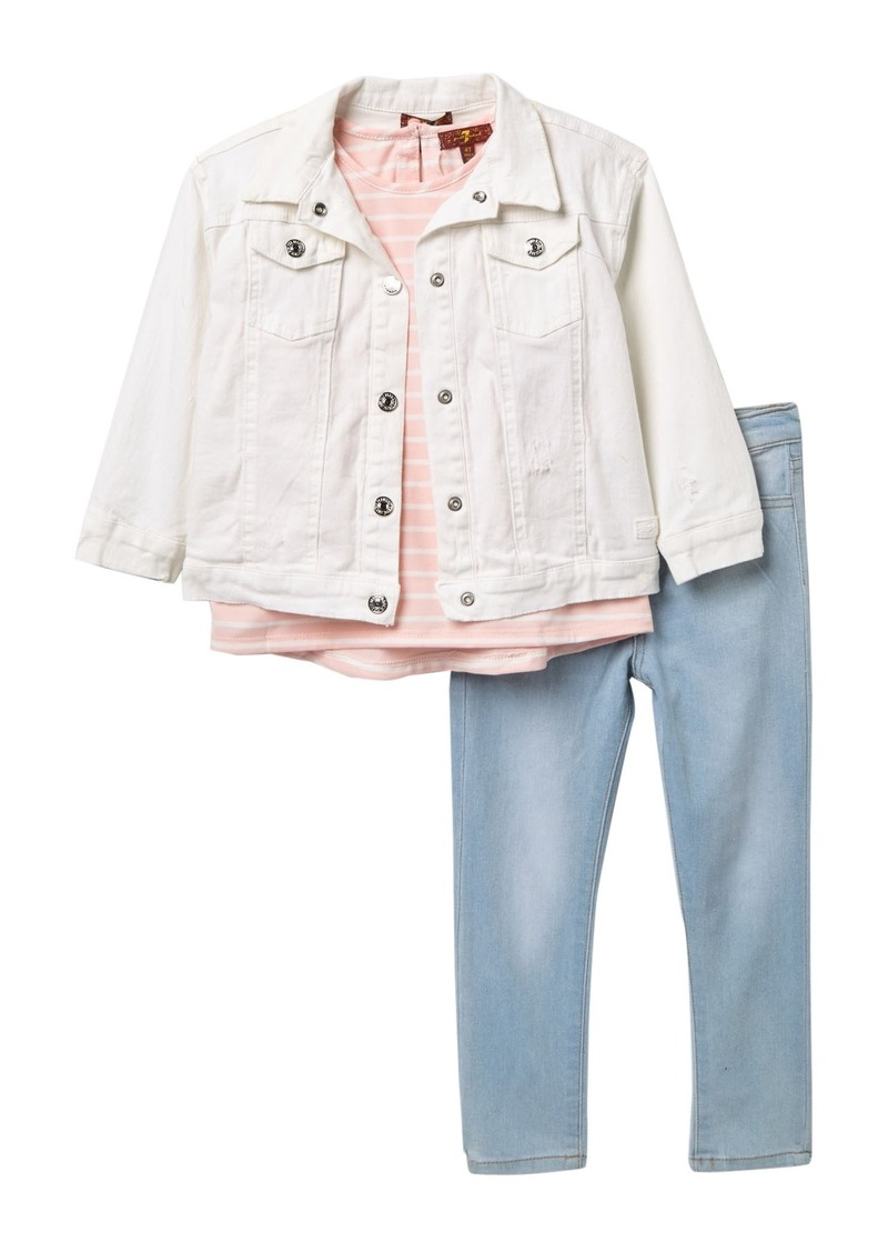 7 For All Mankind Denim Jacket, Classic Jersey & Pants Set (Toddler Girls)