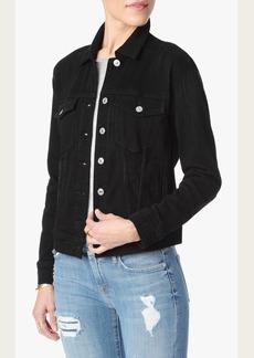 Denim Jacket With Shadow Pockets in Black Broken Twill