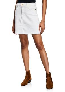 7 For All Mankind Denim Mini Skirt w/ Fray Hem