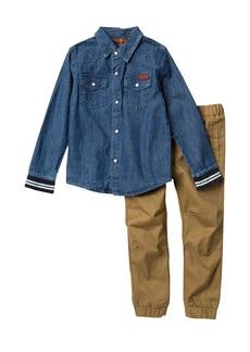 7 For All Mankind Denim Shirt & Pants Set (Toddler Boys)