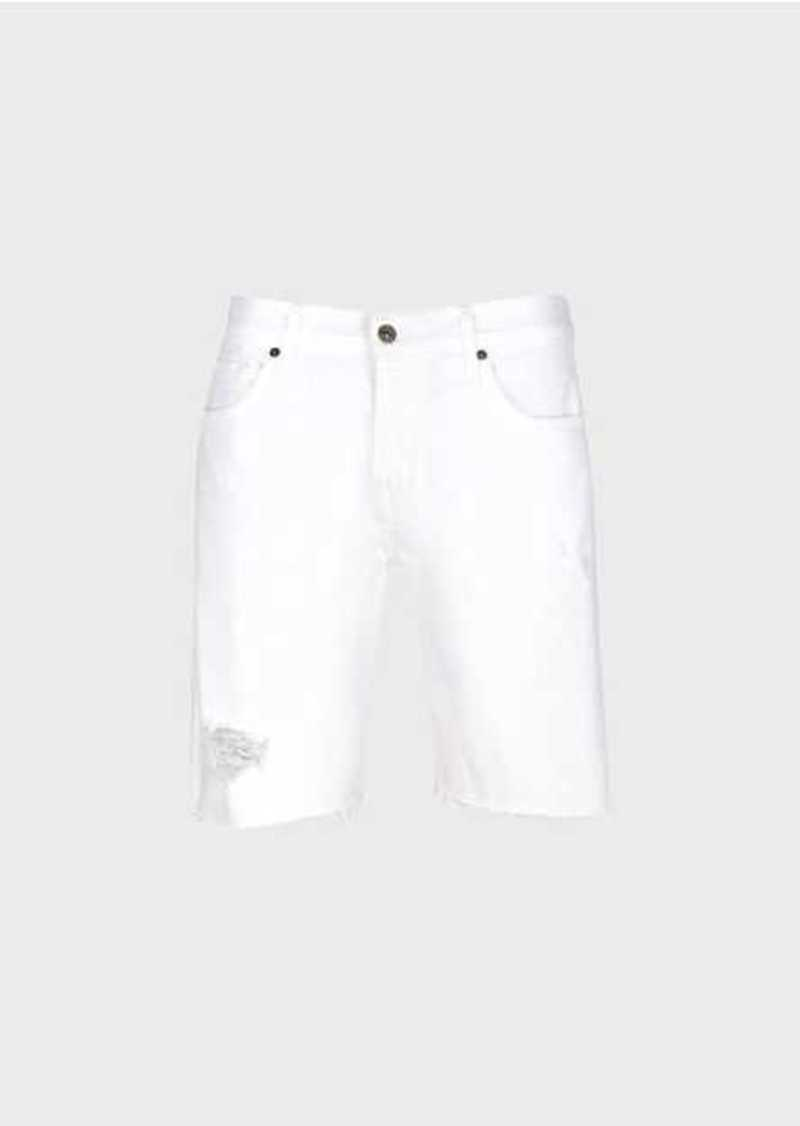 7 For All Mankind Denim Short In White With Destroy