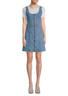 7 For All Mankind Denim Zipper Flare Dress