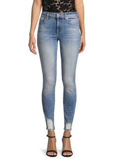 7 For All Mankind Destroyed-Hem Ankle Skinny Jeans