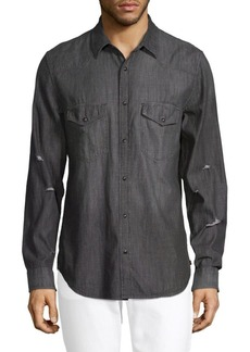 7 For All Mankind Distressed Cotton Button-Down Shirt