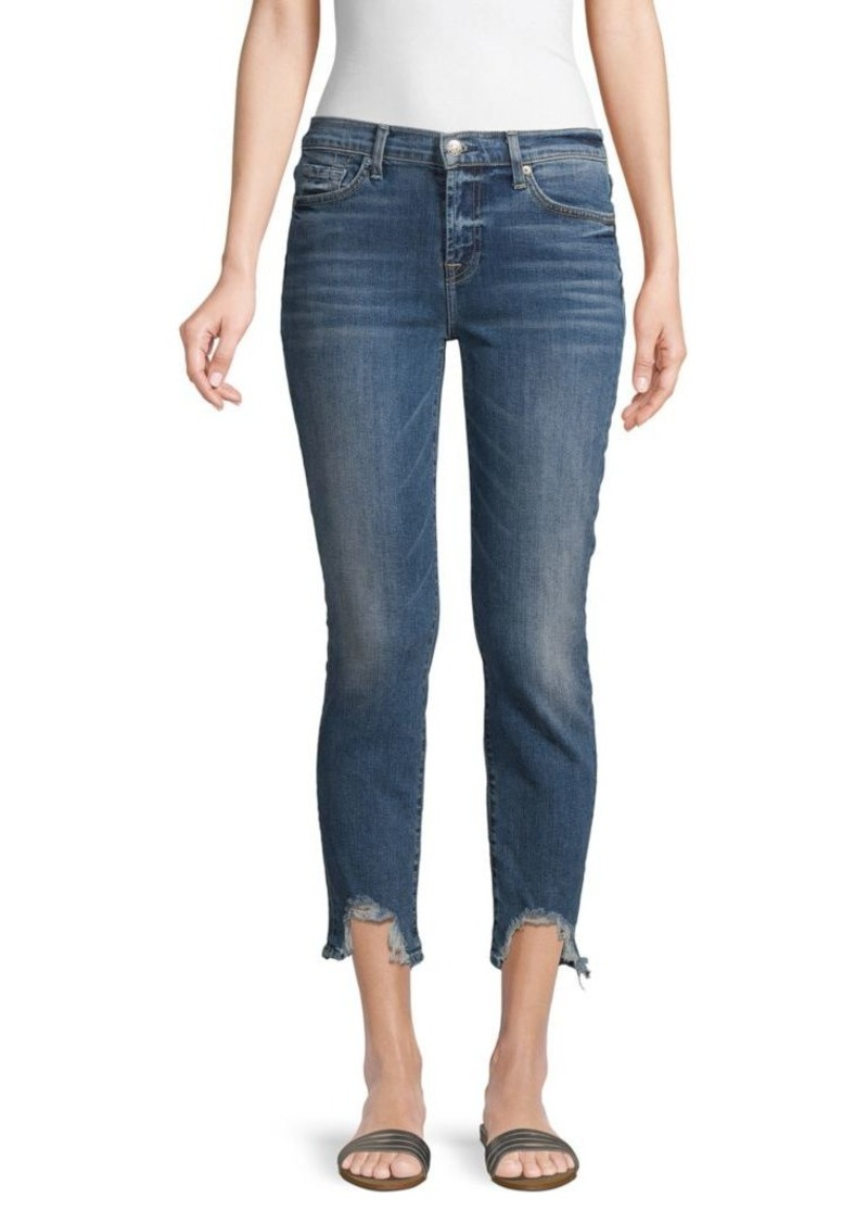 7 For All Mankind Roxanne Distress Crop Skinny Jeans