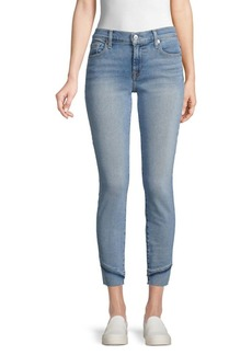 7 For All Mankind Distressed-Cuff Skinny Jeans