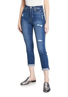 7 For All Mankind Distressed Rolled Skinny Jeans