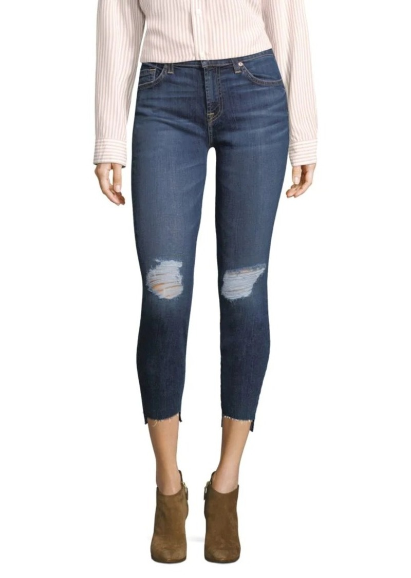 7 For All Mankind Distressed Step-Hem Ankle Skinny Jeans
