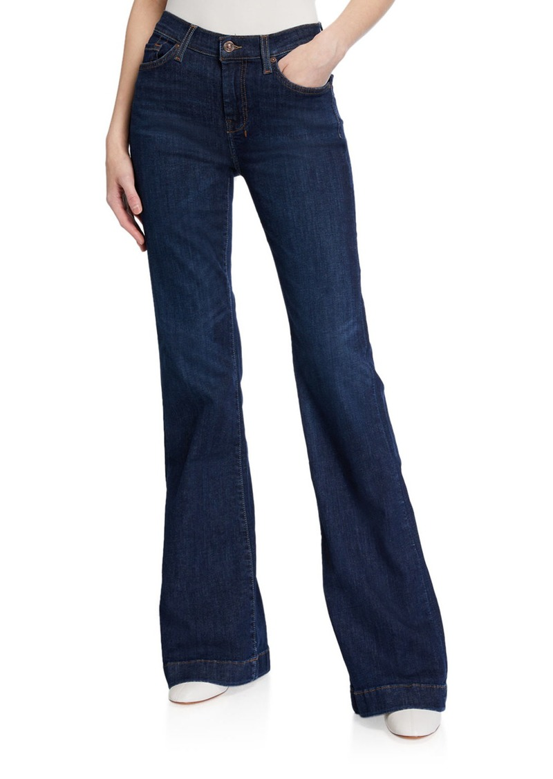 7 For All Mankind Dojo Flared-Leg Jeans with Contrast 7 Pockets