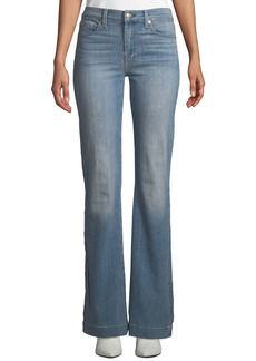 """7 For All Mankind Dojo Flared-Leg Jeans with Contrast """"7"""" Pockets"""