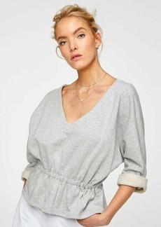 7 For All Mankind Dolman Sleeve Peplum Sweater in Heather Grey