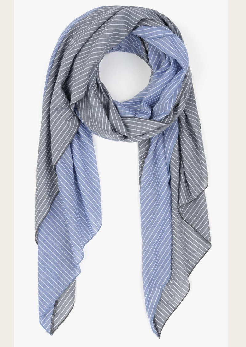 7 For All Mankind Donni Charm Donni Diagonal Scarf in Grey/Denim Stripe