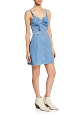 7 For All Mankind Double Bow-Front Sweetheart Sleeveless Denim Dress